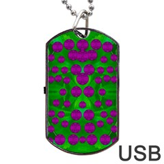 The Pixies Dance On Green In Peace Dog Tag Usb Flash (one Side) by pepitasart