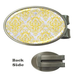 Damask1 White Marble & Yellow Colored Pencil (r) Money Clips (oval)  by trendistuff