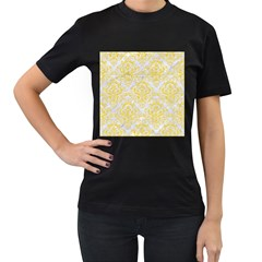 Damask1 White Marble & Yellow Colored Pencil (r) Women s T Shirt (black) (two Sided)