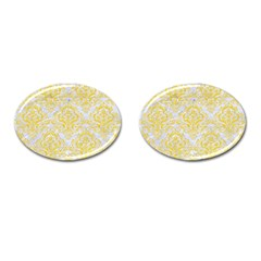Damask1 White Marble & Yellow Colored Pencil (r) Cufflinks (oval) by trendistuff