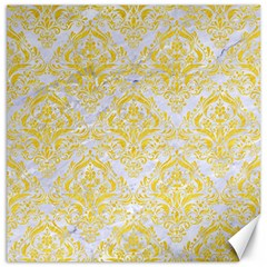Damask1 White Marble & Yellow Colored Pencil (r) Canvas 12  X 12   by trendistuff