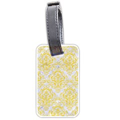 Damask1 White Marble & Yellow Colored Pencil (r) Luggage Tags (two Sides) by trendistuff