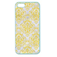 Damask1 White Marble & Yellow Colored Pencil (r) Apple Seamless Iphone 5 Case (color) by trendistuff
