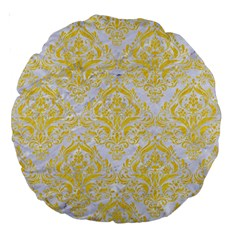 Damask1 White Marble & Yellow Colored Pencil (r) Large 18  Premium Round Cushions by trendistuff
