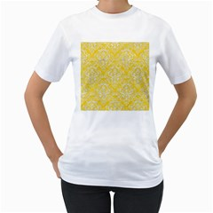 Damask1 White Marble & Yellow Colored Pencil Women s T Shirt (white) (two Sided)
