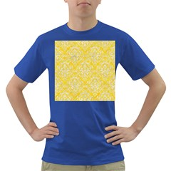 Damask1 White Marble & Yellow Colored Pencil Dark T Shirt