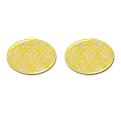 Damask1 White Marble & Yellow Colored Pencil Cufflinks (oval) by trendistuff