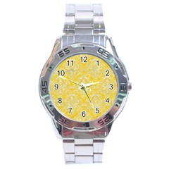 Damask1 White Marble & Yellow Colored Pencil Stainless Steel Analogue Watch by trendistuff