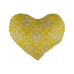 Damask1 White Marble & Yellow Colored Pencil Standard 16  Premium Heart Shape Cushions by trendistuff