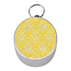 Damask1 White Marble & Yellow Colored Pencil Mini Silver Compasses by trendistuff