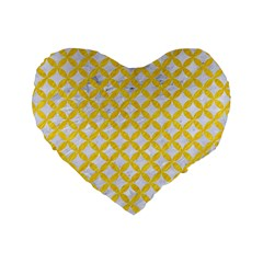 Circles3 White Marble & Yellow Colored Pencil (r) Standard 16  Premium Heart Shape Cushions by trendistuff