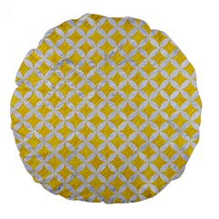 Circles3 White Marble & Yellow Colored Pencil Large 18  Premium Round Cushions by trendistuff
