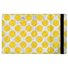 Circles2 White Marble & Yellow Colored Pencil (r) Apple Ipad 2 Flip Case by trendistuff