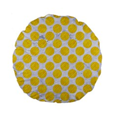 Circles2 White Marble & Yellow Colored Pencil (r) Standard 15  Premium Flano Round Cushions by trendistuff