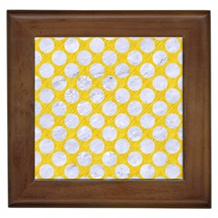 Circles2 White Marble & Yellow Colored Pencil Framed Tiles by trendistuff