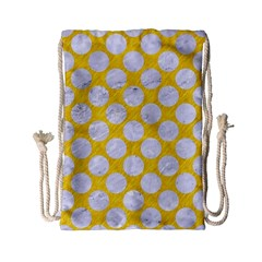 Circles2 White Marble & Yellow Colored Pencil Drawstring Bag (small) by trendistuff