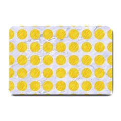 Circles1 White Marble & Yellow Colored Pencil (r) Small Doormat  by trendistuff