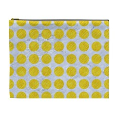 Circles1 White Marble & Yellow Colored Pencil (r) Cosmetic Bag (xl) by trendistuff