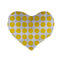 Circles1 White Marble & Yellow Colored Pencil (r) Standard 16  Premium Heart Shape Cushions by trendistuff