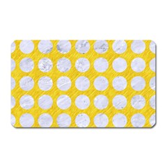 Circles1 White Marble & Yellow Colored Pencil Magnet (rectangular) by trendistuff
