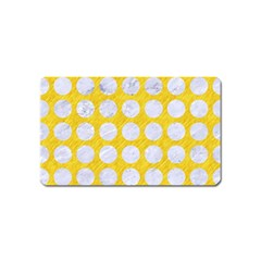 Circles1 White Marble & Yellow Colored Pencil Magnet (name Card) by trendistuff