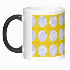 Circles1 White Marble & Yellow Colored Pencil Morph Mugs by trendistuff