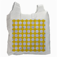 Circles1 White Marble & Yellow Colored Pencil Recycle Bag (two Side)  by trendistuff
