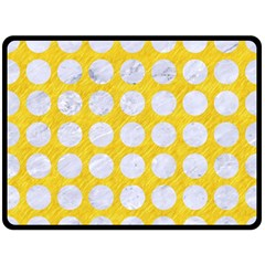 Circles1 White Marble & Yellow Colored Pencil Double Sided Fleece Blanket (large)  by trendistuff