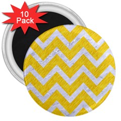 Chevron9 White Marble & Yellow Colored Pencilchevron9 White Marble & Yellow Colored Pencil 3  Magnets (10 Pack)  by trendistuff