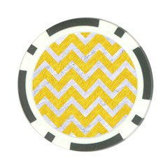 Chevron9 White Marble & Yellow Colored Pencilchevron9 White Marble & Yellow Colored Pencil Poker Chip Card Guard by trendistuff