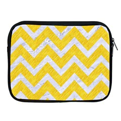 Chevron9 White Marble & Yellow Colored Pencilchevron9 White Marble & Yellow Colored Pencil Apple Ipad 2/3/4 Zipper Cases by trendistuff