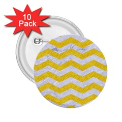 Chevron3 White Marble & Yellow Colored Pencil 2 25  Buttons (10 Pack)  by trendistuff