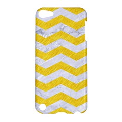 Chevron3 White Marble & Yellow Colored Pencil Apple Ipod Touch 5 Hardshell Case by trendistuff