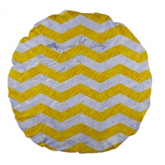 Chevron3 White Marble & Yellow Colored Pencil Large 18  Premium Round Cushions by trendistuff