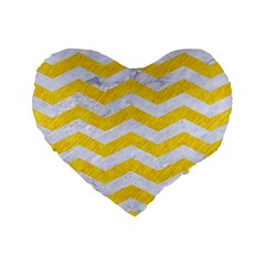 Chevron3 White Marble & Yellow Colored Pencil Standard 16  Premium Heart Shape Cushions by trendistuff