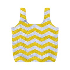 Chevron3 White Marble & Yellow Colored Pencil Full Print Recycle Bags (m)  by trendistuff