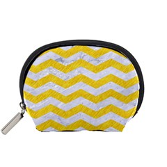 Chevron3 White Marble & Yellow Colored Pencil Accessory Pouches (small)  by trendistuff