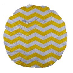 Chevron3 White Marble & Yellow Colored Pencil Large 18  Premium Flano Round Cushions by trendistuff