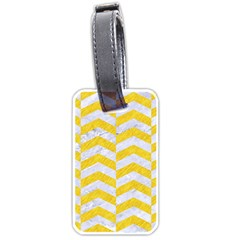 Chevron2 White Marble & Yellow Colored Pencil Luggage Tags (two Sides) by trendistuff