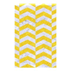 Chevron2 White Marble & Yellow Colored Pencil Shower Curtain 48  X 72  (small)  by trendistuff