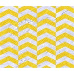 CHEVRON2 WHITE MARBLE & YELLOW COLORED PENCIL Deluxe Canvas 14  x 11  14  x 11  x 1.5  Stretched Canvas