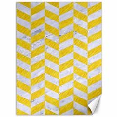 Chevron1 White Marble & Yellow Colored Pencil Canvas 36  X 48   by trendistuff