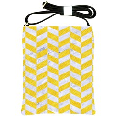 Chevron1 White Marble & Yellow Colored Pencil Shoulder Sling Bags by trendistuff