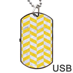 Chevron1 White Marble & Yellow Colored Pencil Dog Tag Usb Flash (two Sides) by trendistuff