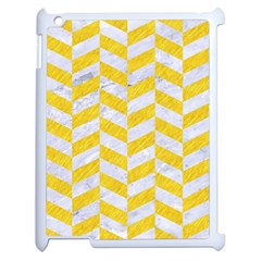 Chevron1 White Marble & Yellow Colored Pencil Apple Ipad 2 Case (white) by trendistuff