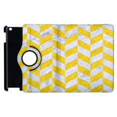 Chevron1 White Marble & Yellow Colored Pencil Apple Ipad 2 Flip 360 Case by trendistuff