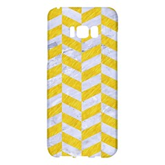 Chevron1 White Marble & Yellow Colored Pencil Samsung Galaxy S8 Plus Hardshell Case