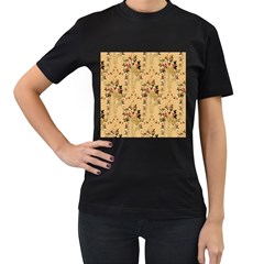Vintage Floral Pattern Women s T Shirt (black) (two Sided)