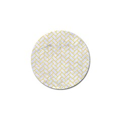 Brick2 White Marble & Yellow Colored Pencil (r) Golf Ball Marker by trendistuff