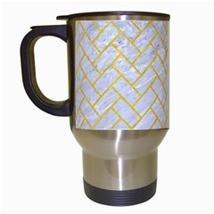 Brick2 White Marble & Yellow Colored Pencil (r) Travel Mugs (white) by trendistuff
